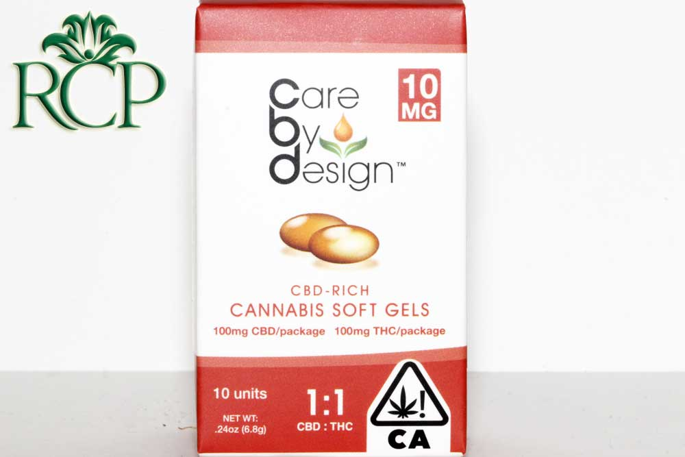 Sacramento Medical Marijuana Dispensary Cannabis Club Strain CARE BY DESIGN 1-1 GEL CAPS